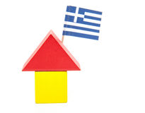 Stylized home with greek flag Royalty Free Stock Photography