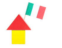 Stylized home with italian flag. All on white background Stock Photography