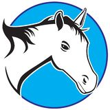 Stylized Horse in circular frame stock illustration