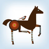 Stylized horse. With flower and bird 2014 year of the horse Royalty Free Stock Photo