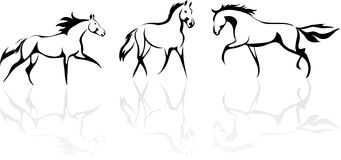 Stylized horse. Vector stylized horses in different poses Stock Images
