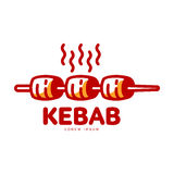 Stylized hot, freshly grilled Turkish kebab logo template Royalty Free Stock Photos
