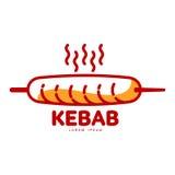 Stylized hot, freshly grilled Turkish kebab logo template Royalty Free Stock Image
