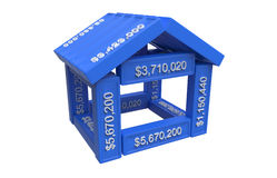 Stylized house made of spreadsheet 3d elements Royalty Free Stock Photography