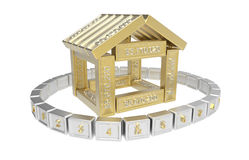 Stylized house made of spreadsheet 3d elements Stock Photography
