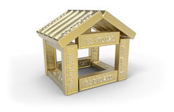 Stylized house made of spreadsheet 3d elements Royalty Free Stock Photo