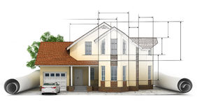 A stylized house model with floor plan, ruler and pencil Royalty Free Stock Photos