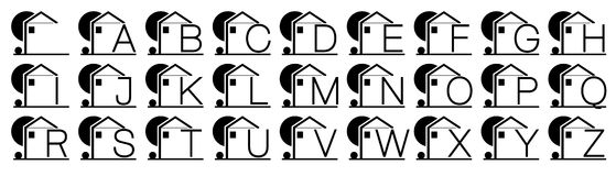 Stylized houses with alphabet letters  Stock Photo