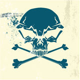 Stylized human skull. And bones symbol. Grunge background. Can be used as danger or warning sign. Vector illustration Royalty Free Stock Image