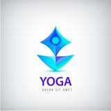 Stylized human yoga shape Logo. Man sitting Lotus pose design vector template. Royalty Free Stock Photography