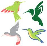 Stylized hummingbirds  set Royalty Free Stock Image
