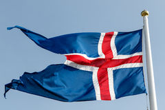 Stylized Icelandic flag. Flapping in the wind Stock Images