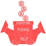 Stylized icon calling to make a donation. Bitcoins are poured in. To a box for donations that keep both hands on a white background Royalty Free Stock Image
