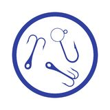 Stylized icon of a colored hooks for catching fish in the circle. On a white background Stock Image