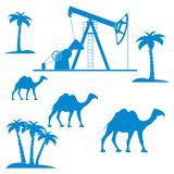 Stylized icon of the equipment for oil production on a backgrou. Stylized icon of the equipment for oil production on a color background with palm trees and stock illustration