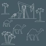 Stylized icon of the equipment for oil production on a backgrou. Stylized icon of the equipment for oil production on a color background with palm trees and vector illustration