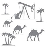 Stylized icon of the equipment for oil production on a backgrou. Stylized icon of the equipment for oil production on a color background with palm trees and royalty free illustration