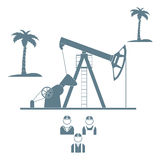 Stylized icon of the equipment for oil production with palm tree. Stylized icon of the equipment for oil production on a light background with palm trees and royalty free illustration