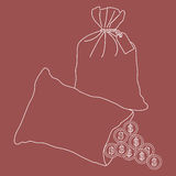 Stylized icon of a knotted bag with money and open bag with pour Stock Images