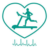Stylized icon of the man jogging on a treadmill within the heart Stock Images
