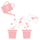 Stylized icon of the watering can pours fuel potted money trees Royalty Free Stock Photography