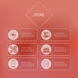 Stylized icons for store in internet Stock Photo
