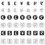 Stylized icons of various currencies Stock Image