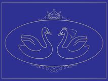 Stylized illustration of the bride and groom in the form of a pair of swans in an oval frame. royalty free illustration
