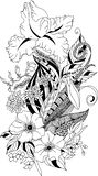 Stylized illustration of coloring feather with iris and chrysanthemum in tangle doodle style vector illustration