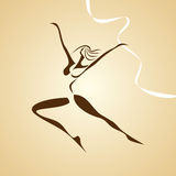Stylized illustration of dancing girl Stock Photos