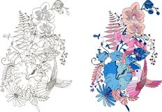 Stylized illustration of feather with orchids, hibiscus and hummingbird in tangle doodle style stock illustration