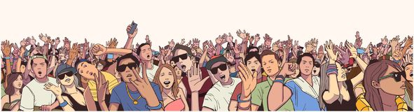Stylized illustration festival crowd at live concert partying and having fun. Illustration large crowd of people partying at concert Stock Photography