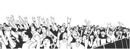 Illustration of large crowd of people cheering at concert with raised hands. Stylized illustration of festival people at live performance Royalty Free Stock Image