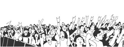 Illustration of large crowd of people cheering at concert with raised hands. Stylized illustration of festival people at live performance Stock Photo