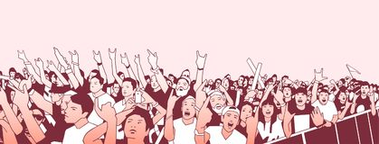 Illustration of large crowd of people cheering at concert with raised hands. Stylized illustration of festival people at live performance Stock Photos