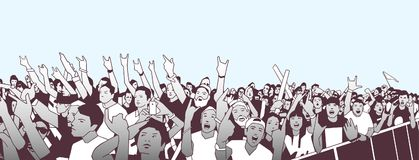 Illustration of large crowd of people cheering at concert with raised hands. Stylized illustration of festival people at live performance Royalty Free Stock Images