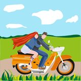 Stylized illustration in a flat style couple in love on a motorcycle. A guy with a girl is riding a motorcycle on the road in the middle of the fields royalty free illustration