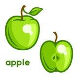Stylized illustration of fresh apple on white Stock Photography