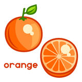 Stylized illustration of fresh orange on white Stock Photos