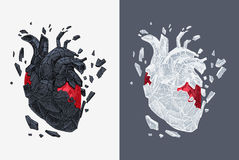 Stylized illustration of heart covered cracking with stone Royalty Free Stock Images