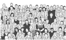 Stylized illustration of large group of people smiling and posing for a photograph in black and white grey scale stock illustration