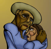 Stylized illustration. Of a peasant couple embraced Royalty Free Stock Images