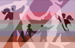 Balroom Dancers Couples collage background. Stylized illustration of Young couples dancing ballroom dance. Vector available Royalty Free Stock Photo