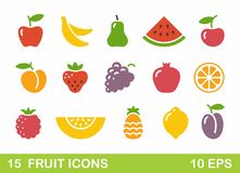 Stylized illustrations of fruit. Vector icons Royalty Free Stock Images