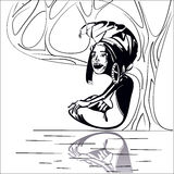 Stylized image of an adult African woman sitting under a tree near the river. Black and white Stock Photography