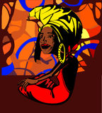 Stylized image of an adult African woman sitting under a tree near the river, In the sun shining through the stylized trees. Bright colors Royalty Free Stock Photography