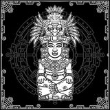 Stylized image of an ancient Indian deity. Motives of art Native American Indian. Royalty Free Stock Photo