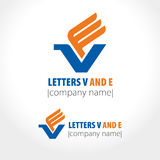 The stylized image of a bird. Letters V and E. Vector illustration Stock Photo