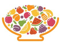 Stylized image of a bowl of fruit Stock Image