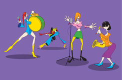 The stylized image of a cartoon female music group. 